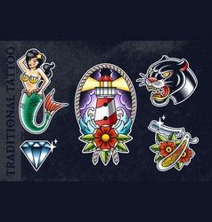 set traditional tattoo arts vector image