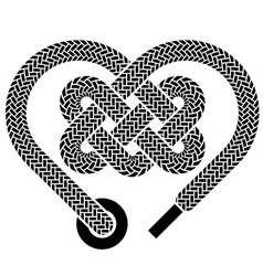 Shoelace celtic heart black symbol vector