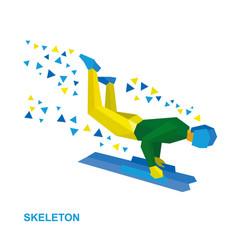 Skeleton cartoon sportsman jump on sled bobsled vector