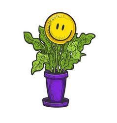 smile emoticon flower sketch vector image