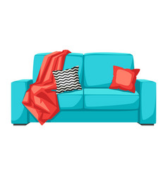Sofa with plaid and pillow interior and furniture vector