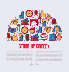 Stand up comedy show concept in half circle vector