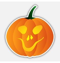 Sticker - halloween orange pumpkin head with face vector