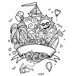 Summer doodle line art vector