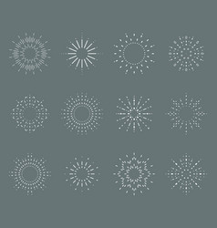 sun radiant sunburst lineart design icons set vector image