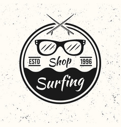 surfing black vintage round emblem with sunglasses vector image