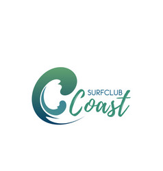 surfing club icon vector image