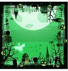 template halloween holiday pumpkin cemetery vector image
