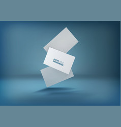 Three white business cards on a blue background vector