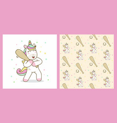 unicorn hold stick baseball with pattern vector image
