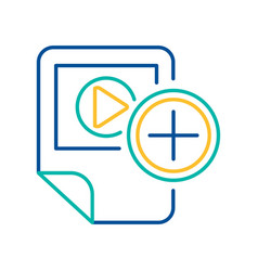 Video player blue and yellow linear icon vector