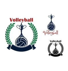 Volleyball balls and trophy cups symbols vector image