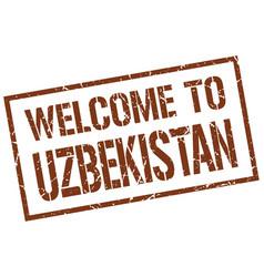 Welcome to uzbekistan stamp vector