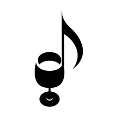 wine glass as note score of music creative logo vector image