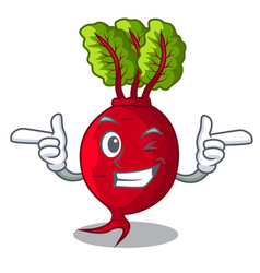Wink character organic beetroot in the garden vector