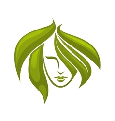 Woman with swirling green hair - icon vector