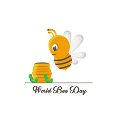 World bee day with cute cartoon honey and bee vector