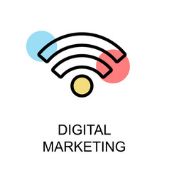 digital marketing icon and wifi icon on white vector image
