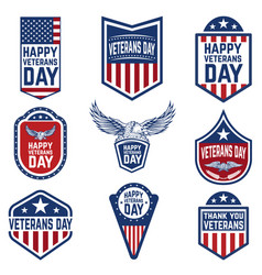set of veterans day emblems usa culture vector image vector image
