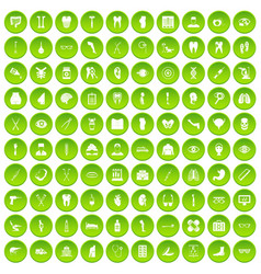 100 medicine icons set green circle vector