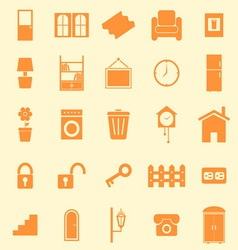 House related color icons on orange background vector image vector image