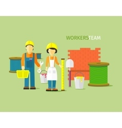 Workers Team People Group Flat Style vector image vector image