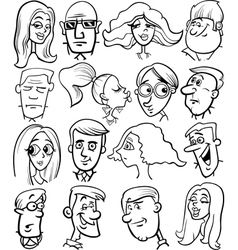cartoon people characters faces vector image vector image