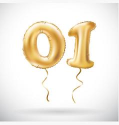 golden number 01 zero one metallic balloon party vector image