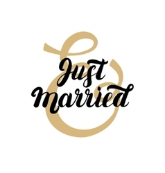 Just married hand written lettering with gold vector image vector image