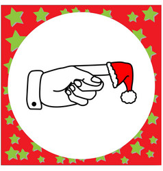 left hand pointing with santa claus red hat vector image