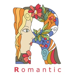 letter R romantic vector image vector image