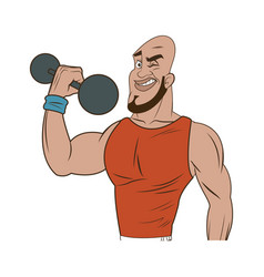 Man weight lifting bodybuilding sport image vector