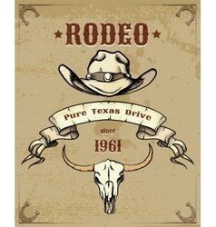 Rodeo Themed Graphic with Cowboy Hat and Skull vector image vector image