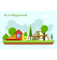 Slide and sandpit in the playground vector image vector image
