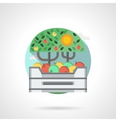 Apples box detail flat color icon vector image vector image