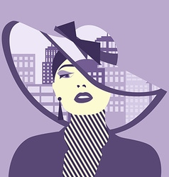 double exposure Woman with city in her hat vector image