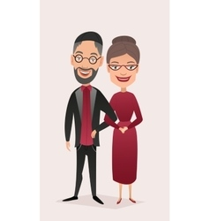 Happy jewish middle aged couple isolated vector