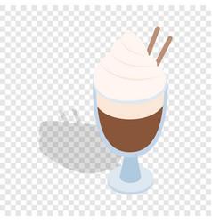 latte coffee with cinnamon stick isometric icon vector image