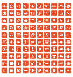 100 apple icons set grunge orange vector