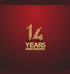 14 years golden anniversary logotype vector
