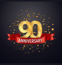 90 years anniversary logo template on dark vector image