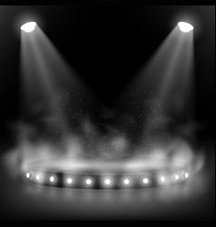 a round scene in smoke with overhead lighting and vector image