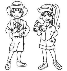 adventure kids line art vector image