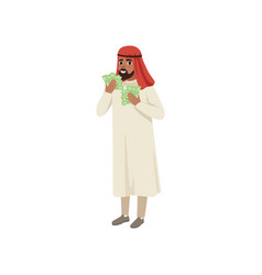 arabic businessman character holding fans of vector image