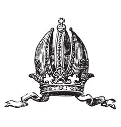 Austrian crown vintage engraving vector
