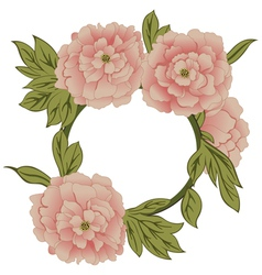 Background with peonies with frame vector