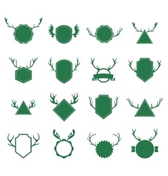 Badges with deer horns on white background vector