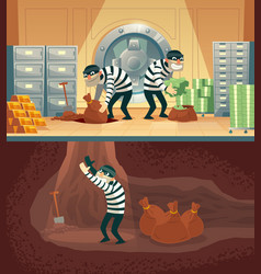 bank vault robbery by thieves criminals vector image