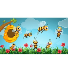 Bees flying out of beehive in the garden vector image vector image