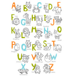 Black and white zoo alphabet with cute animals vector